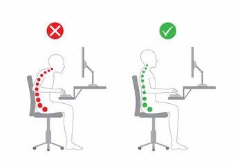 Nepravilan i pravilan položaj pred računarom